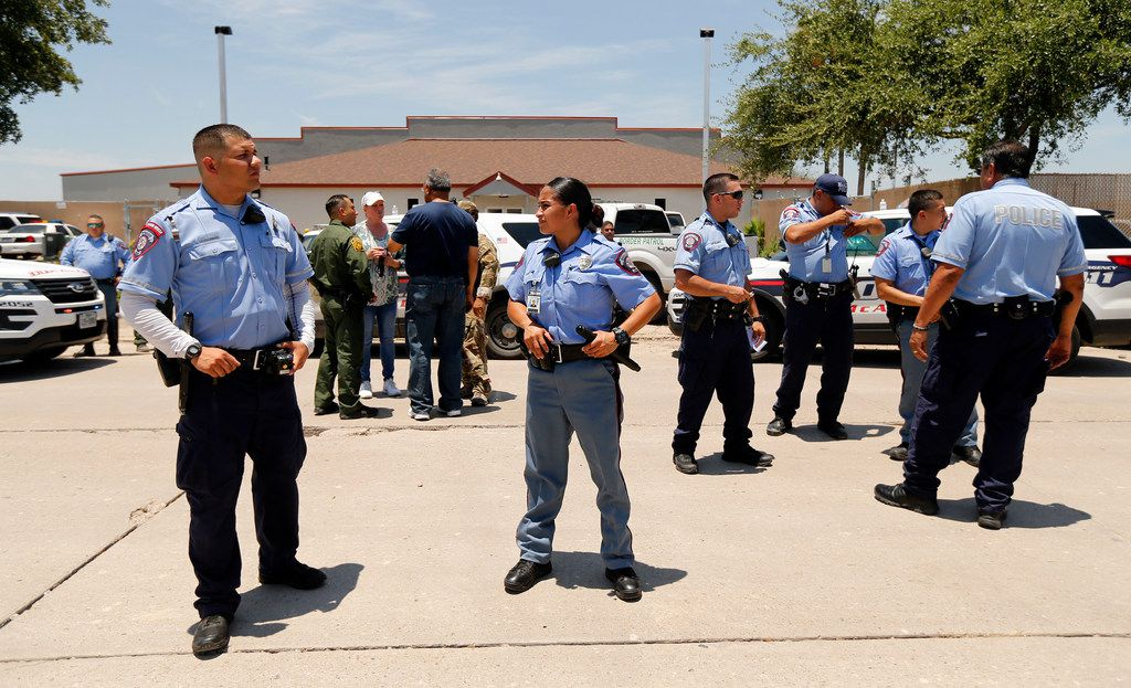 McAllen police officers were called to the US Border Patrol Processing Center in McAllen, Texas after protesters attempted to stop a bus from leaving the facility, Saturday, June 23, 2018.