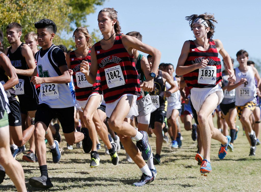 Lovejoy's Will Muirhead (1842), pictured in a cross country race at Grand Prairie's Lynn Creek Park last year, made a victorious return on Thursday in winning the elite boys 5000-meter run at the Ken Gaston Invitational Race at the Lake. (Vernon Bryant/The Dallas Morning News)
