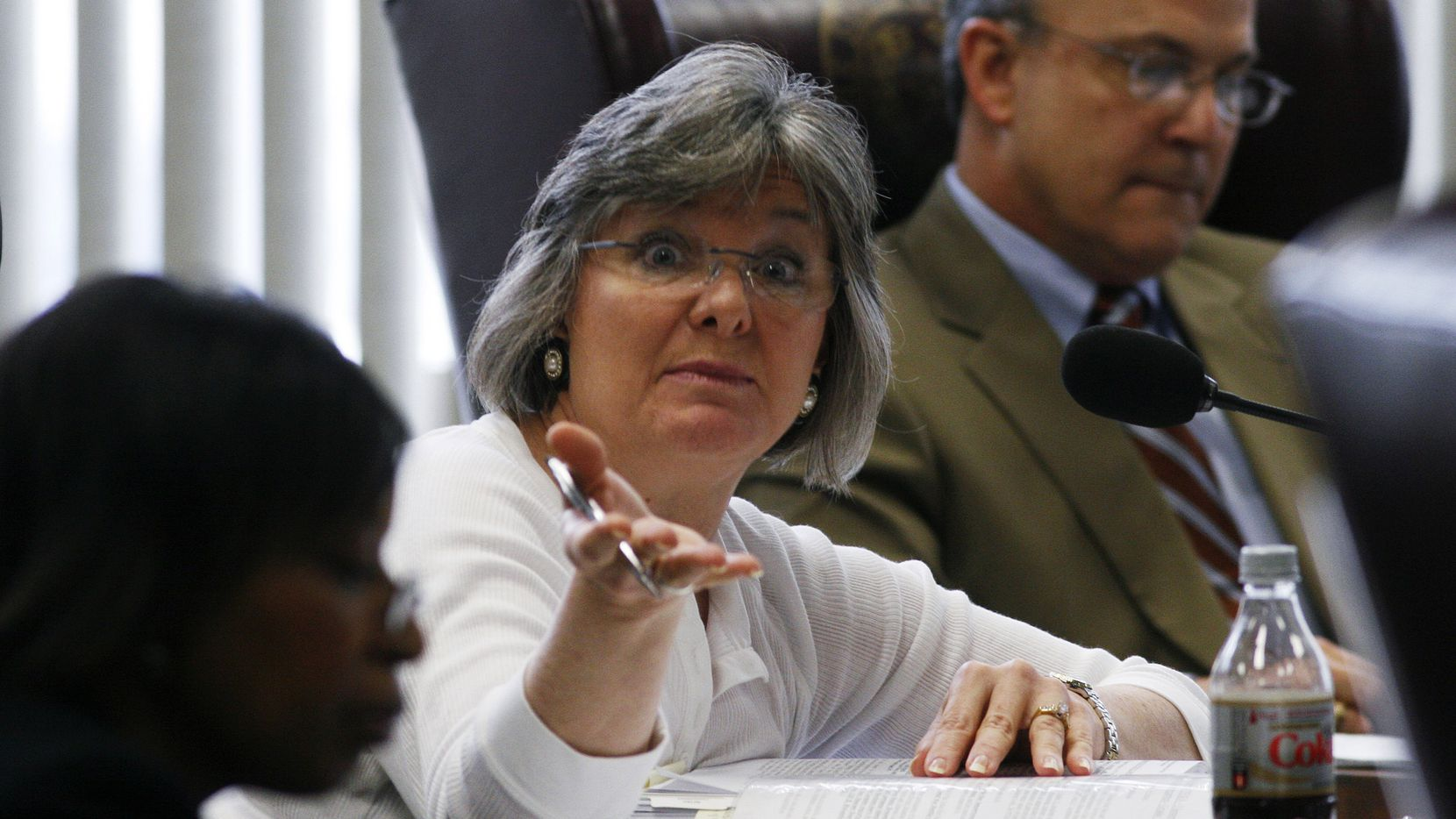 ORG XMIT: TXJP105 State Board of Education chair Gail Lowe mediates public testimony on social studies curriculum during a board meeting in Austin, Texas, on Wednesday, March 10, 2010. (AP Photo/Jack Plunkett)
