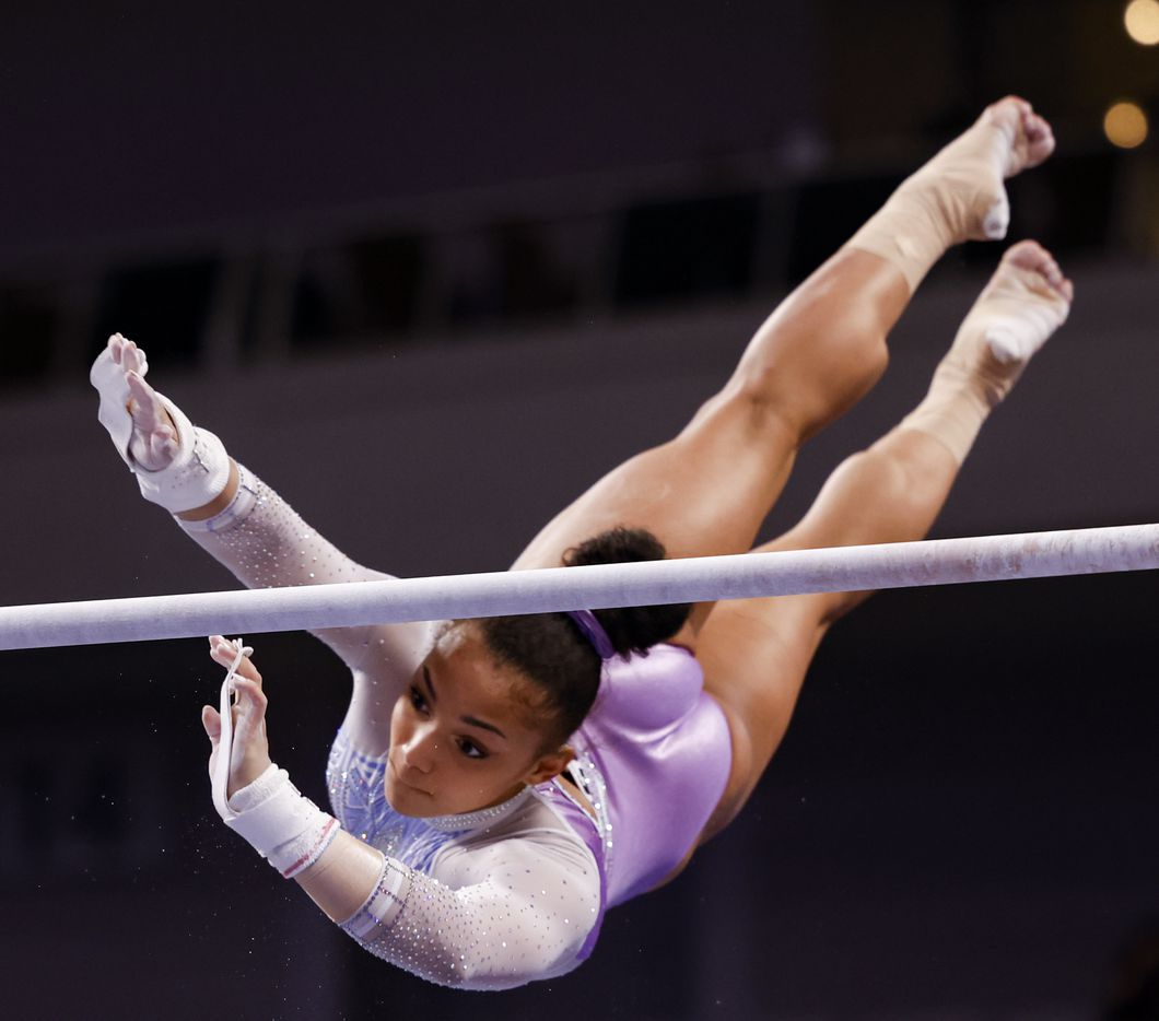 Sydney Barros competes on the uneven bars during day 1 of the senior women's US gymnastics championships on Friday, June 4, 2021, at Dickies Arena in Fort Worth. (Juan Figueroa/The Dallas Morning News)