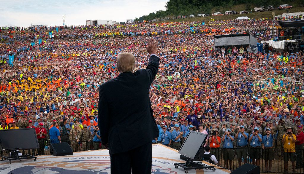 President Donald Trump at the Boy Scouts of America's 2017 National Scout Jamboree at the Summit Bechtel National Scout Reserve in West Virginia earlier this week.