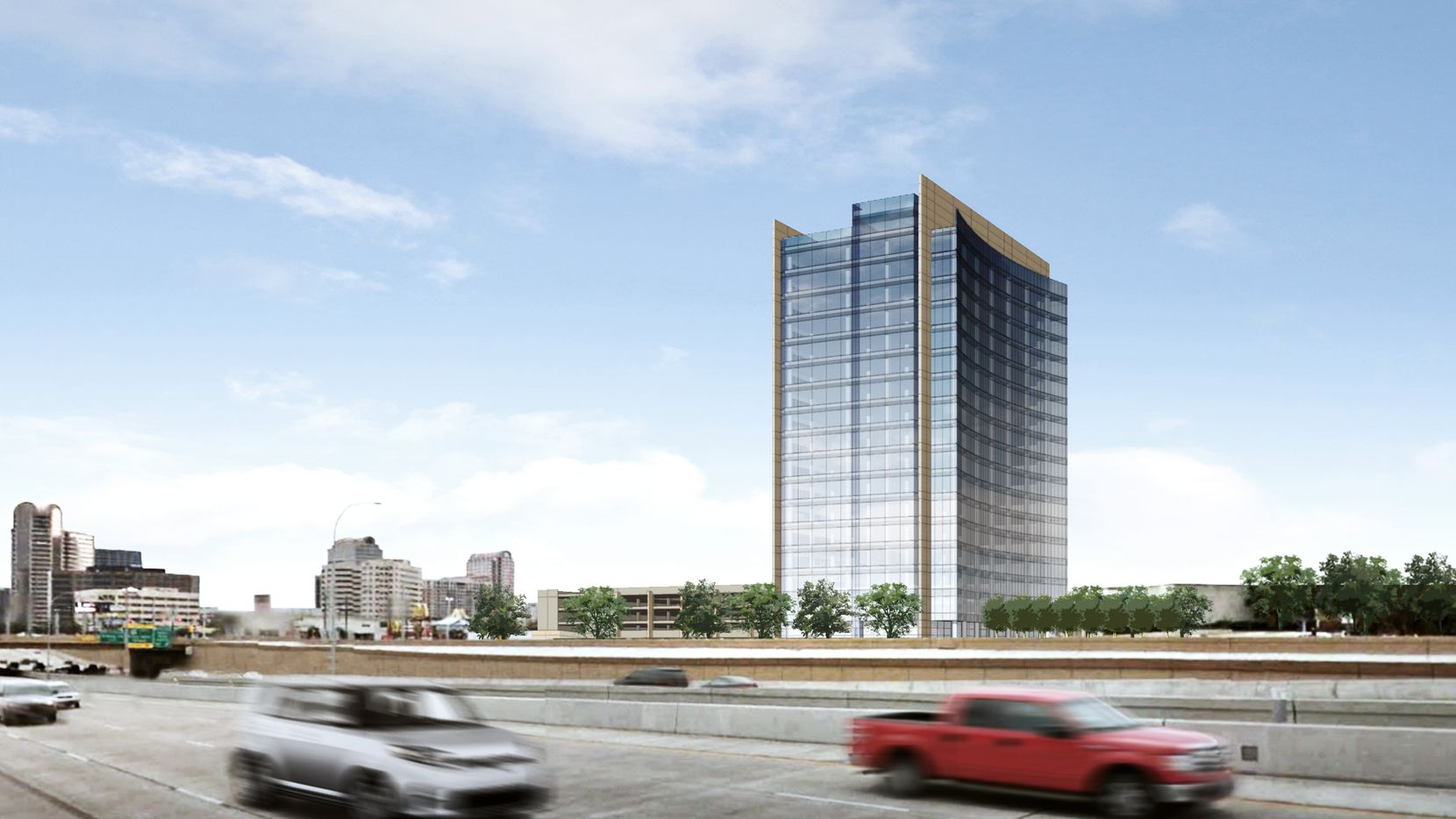 A rendering of the new office tower that Hillwood Urban, one of Ross Perot Jr. s real estate development firms, plans to build on a 20-acre property that includes part of Dallas' Valley View Mall.