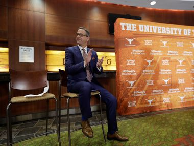 Chris Del Conte attends a news conference where he was introduced at the new vice president and athletics director for the University of Texas, Monday, Dec. 11, 2017, in Austin, Texas.