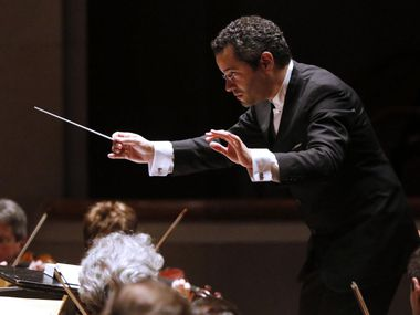 Guest conductor Andrew Grams leading the Dallas Symphony Orchestra in a performance of 'The Nutcracker' at the Morton H. Meyerson Symphony Center in Dallas on Nov. 27, 2015.