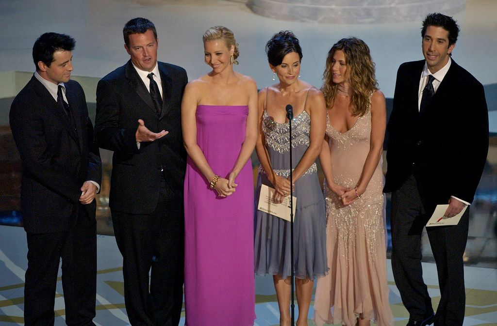 "FILE - In this Sept. 22, 2002, file photo the cast of television's ""Friends"", from left: Matt LeBlanc, Matthew Perry, Lisa Kudrow, Courteney Cox Arquette, Jennifer Aniston and David Schwimmer appear during the 54th Annual Primetime Emmy Awards at the Shrine Auditorium in Los Angeles. AT&T is pulling ""Friends"" from Netflix to beef up its own upcoming streaming service. The wireless company, which owns the WarnerMedia entertainment business, said Tuesday, July 9, 2019, that its service will be called HBO Max. It will launch widely in spring of 2020. (AP Photo/Kevork Djansezian, File)"