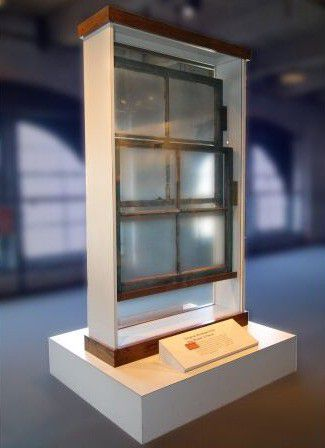 The window as it looked during its time in the Sixth Floor Museum. This photo was used in the eBay ad in 2007, and is in the documents Fred McLane is passing around as he tries to sell the window.