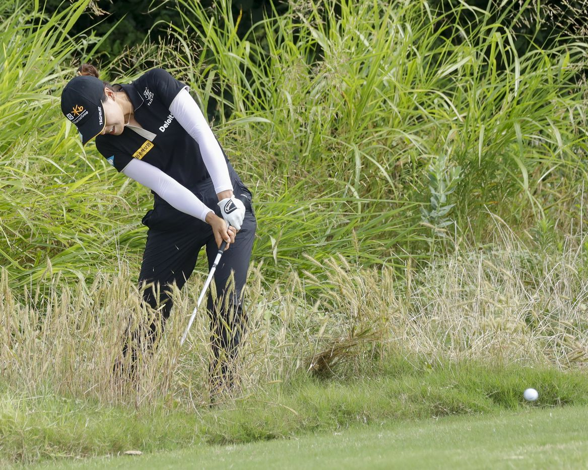 Professional golfer In Gee Chun plays out of the No. 8 green side rough during the second round of the LPGA VOA Classic on Friday, July 2, 2021, in The Colony, Texas. (Elias Valverde II/The Dallas Morning News)