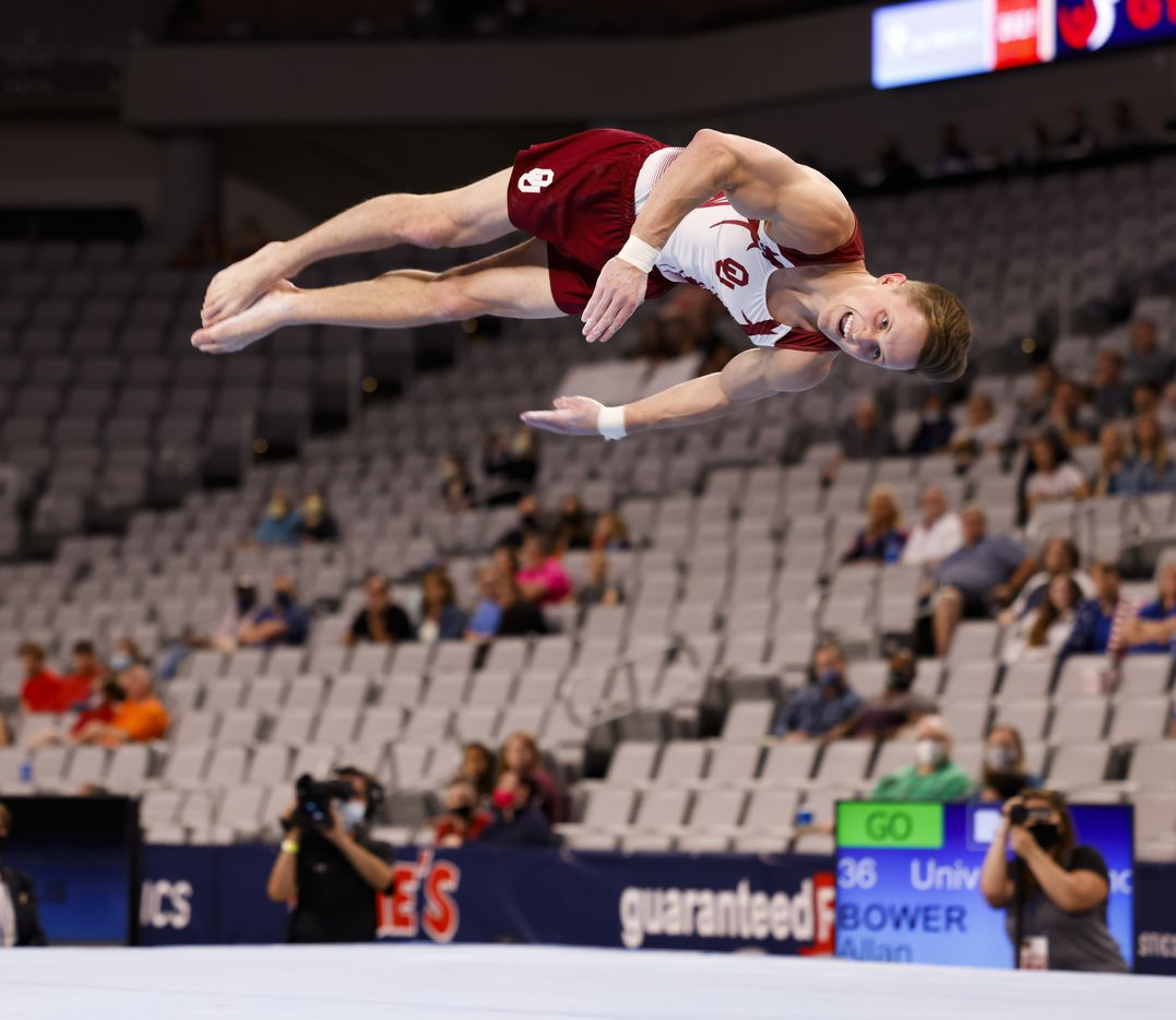University of Oklahoma's Allan Bower performs on the floor during Day 1 of the US gymnastics championships on Thursday, June 3, 2021, at Dickies Arena in Fort Worth. (Juan Figueroa/The Dallas Morning News)