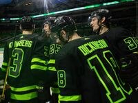 Dallas Stars players celebrate Dallas Stars left wing Jamie Benn (14) goal against the Columbus Blue Jackets in the first period at American Airlines Center in Dallas on Saturday, April 17, 2021. (Juan Figueroa/ The Dallas Morning News)
