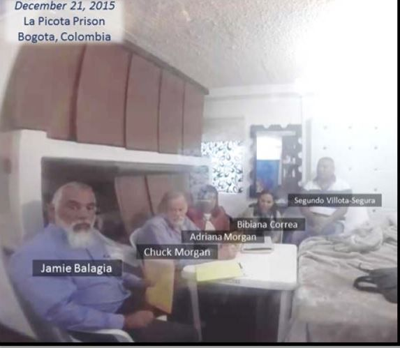 Jamie Balagia (left) and Chuck Morgan (to his right) meet with alleged drug kingpin Segundo Segura in La Picota prison in Colombia in December 2015 to discuss a plot that federal prosecutors call an illegal shakedown. The image was taken from a secret videotape that Segura recorded of the meeting.