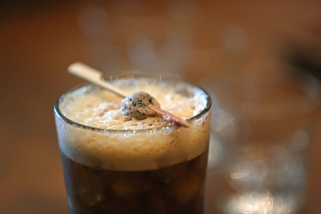 The Melrose is a mocktail modeled after an old fashioned. There isn't any whiskey in it. Here, it's seen on the first day Starbucks Reserve Bar opened in Dallas.