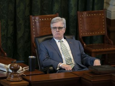 Lt. Gov. Dan Patrick, R-Houston, listens to debate on HB 1927 on the Senate floor on Wednesday, May 5th.  The bill, already passed in the House, would eliminate permit requirements to carry a handgun in Texas if the holder is not prohibited by state or federal law from possessing a gun.  (Bob Daemmrich, Special Contributor)