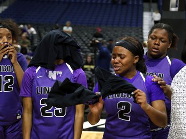 Lincoln guard JaMya Maryland (#2) and center Heaven Johnson (#25) can't hide their disappointment in a 4A semifinal.  Fairfield defeated Lincoln 76-51 on Friday, March 6, 2020 at the Alamodome.