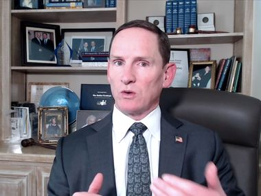 Dallas County Judge Clay Jenkins addresses the media after a state district judge ruling regarding mask mandates on Aug. 25, 2021, in Dallas. (Screenshot via Zoom)