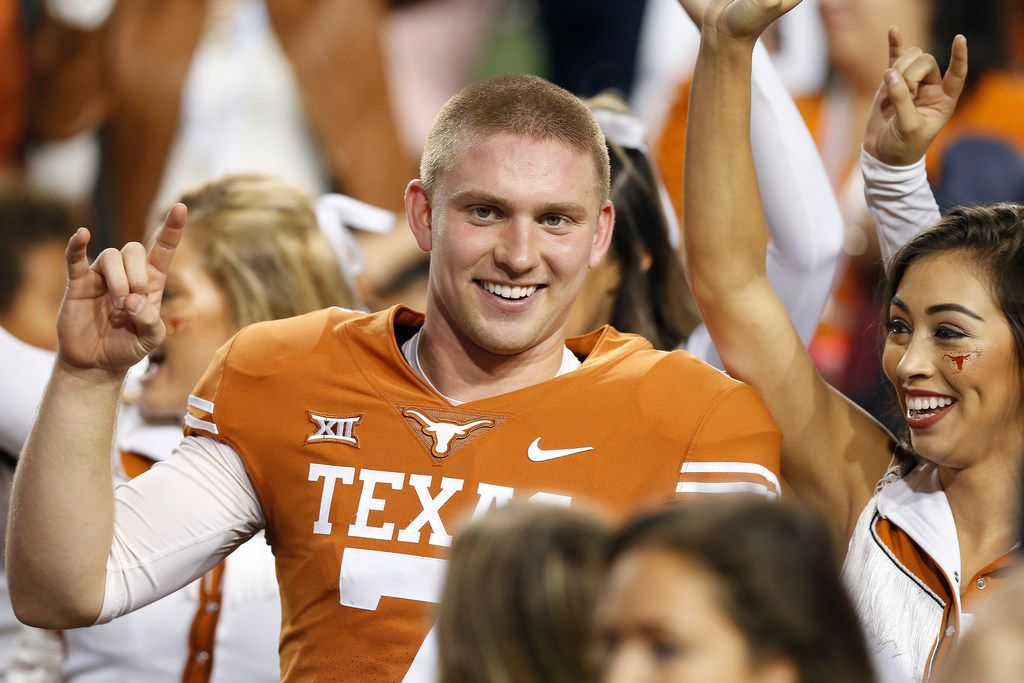 AUSTIN, TX - NOVEMBER 17:  Shane Buechele #7 of the Texas Longhorns celebrates after the game against the Iowa State Cyclones at Darrell K Royal-Texas Memorial Stadium on November 17, 2018 in Austin, Texas.  (Photo by Tim Warner/Getty Images) ORG XMIT: 775237900