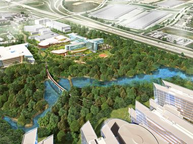 This digital rendering shows American Airlines headquarters campus being built in Fort Worth with offices (bottom right) and a hotel and conference center -- the cross-shaped glass building shown at top center.
