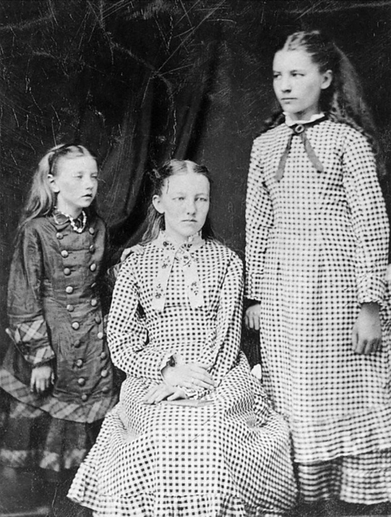 The first known photograph of the three eldest Ingalls sisters, taken around 1879 or 1880. From left: Carrie, Mary and Laura.