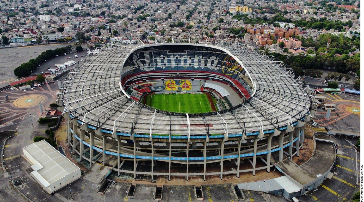 Vista aérea del estadio Azteca de México, casa del equipo América.