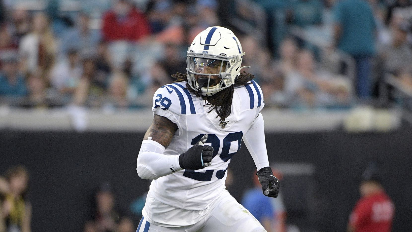 Indianapolis Colts safety Malik Hooker (29) follows a play during the first half of an NFL football game against the Jacksonville Jaguars Sunday, Dec. 29, 2019, in Jacksonville, Fla.