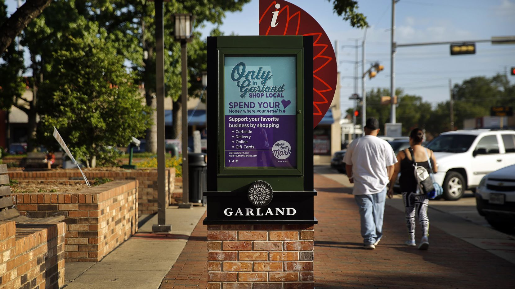 An information kiosk is pictured at Garland City Square in downtown Garland, Texas, Friday, June 26, 2020.