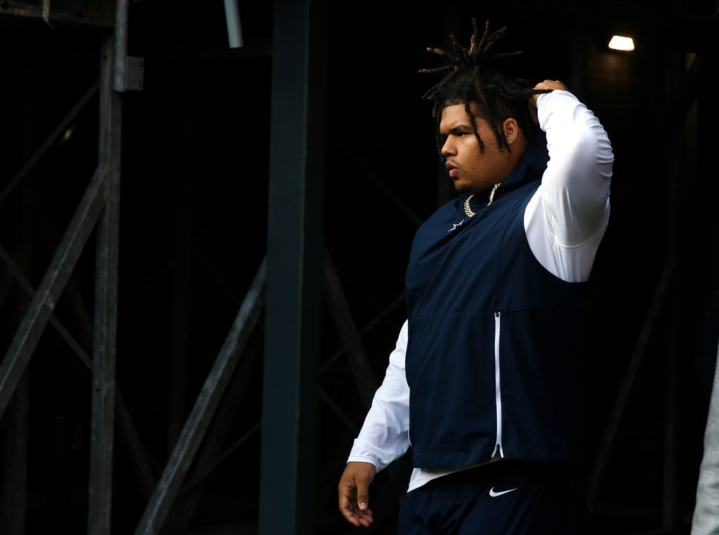 Dallas Cowboys defensive tackle Trysten Hill takes the field during pregame warm ups before an NFL game between the Dallas Cowboys and New York Jets on Sunday, 10 13, 2019 at MetLife Stadium in East Rutherford, New Jersey. (Shaban Athuman/Staff Photographer)