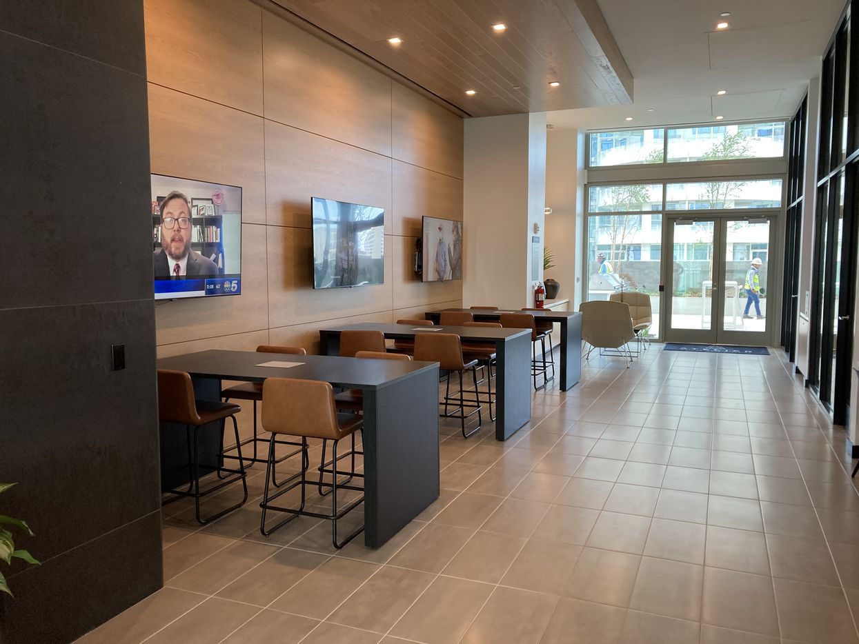 A coworking center in the Atelier apartment tower in the Dallas Arts District.