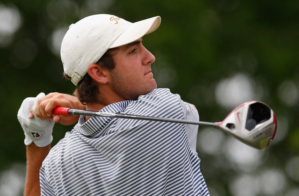 FILE — Amateur Scottie Scheffler plays a tee shot during Round Three of the HP Byron Nelson Championship at the TPC Four Seasons Resort on May 17, 2014 in Irving, Texas.