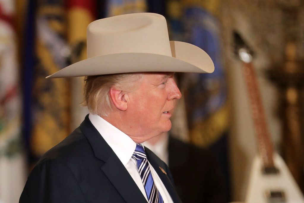 President Donald Trump wore a Stetson from Garland while touring a Made in America product showcase in the East Room of the White House on Monday.