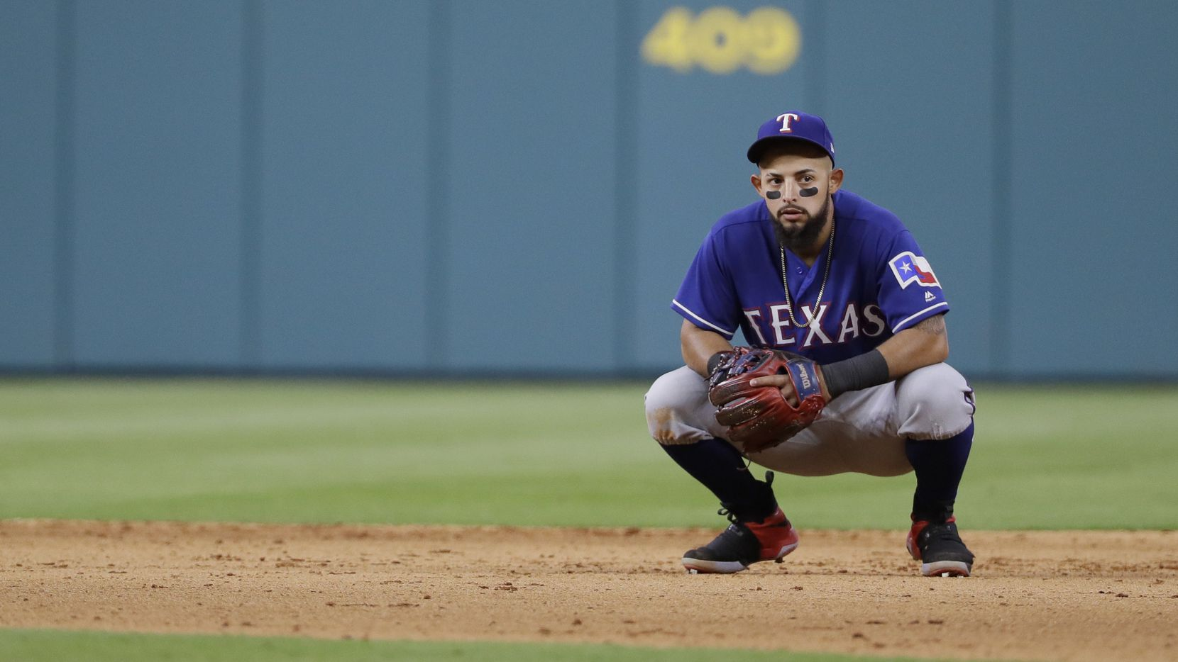 Texas Rangers second baseman Rougned Odor waits between batters during the seventh inning of a baseball game against the Houston Astros Monday, May 1, 2017, in Houston. (AP Photo/David J. Phillip)