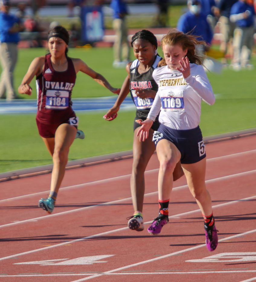 Melissa's Kaylee Lewis places second after Stephenville's Victoria Cameron at] 4A girls 100 meters race during the UIL state track meet at the Mike A. Myers Stadium, at the University of Texas on May 6, 2021 in Austin, Texas.