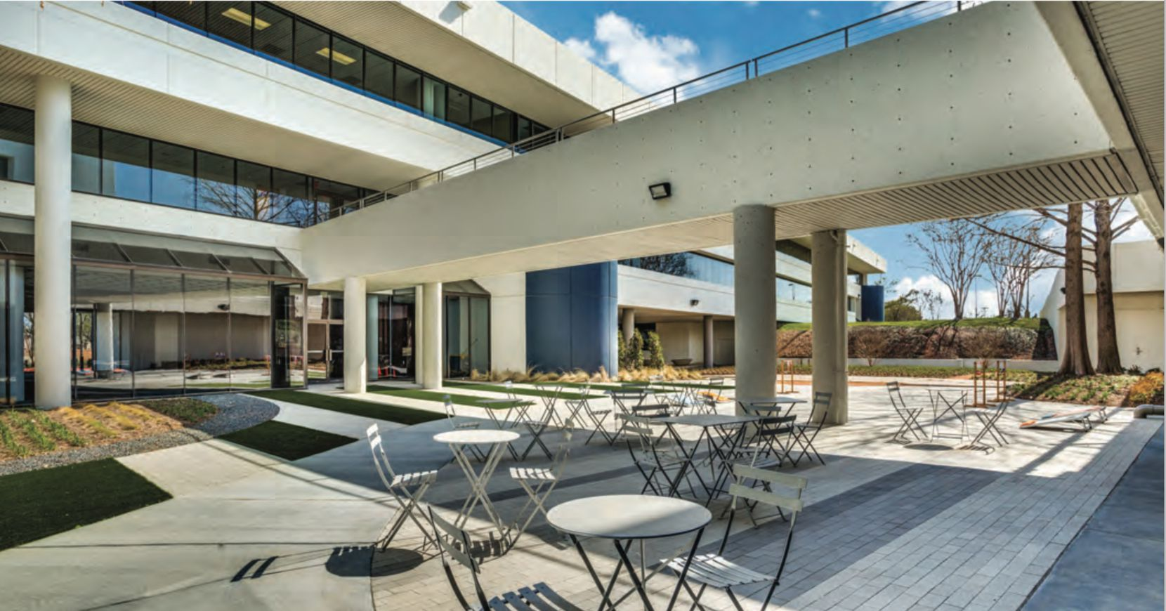 Renovations to the Las Colinas buildings included a new conference center, lounge areas and outdoor seating areas.