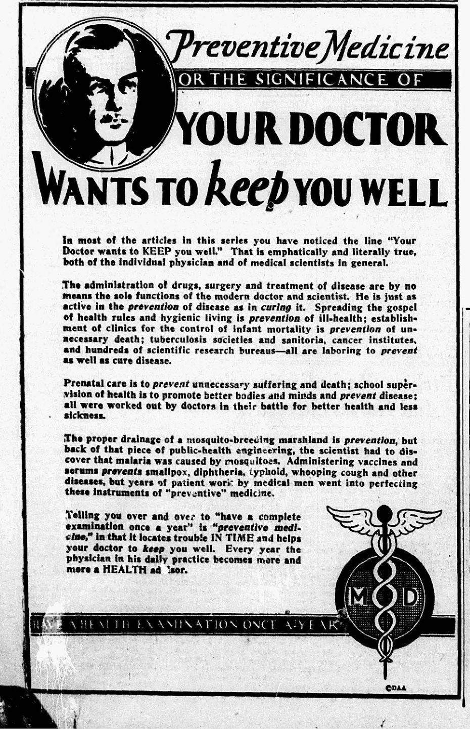 Preventive medicine advertisement published on January 9, 1933.