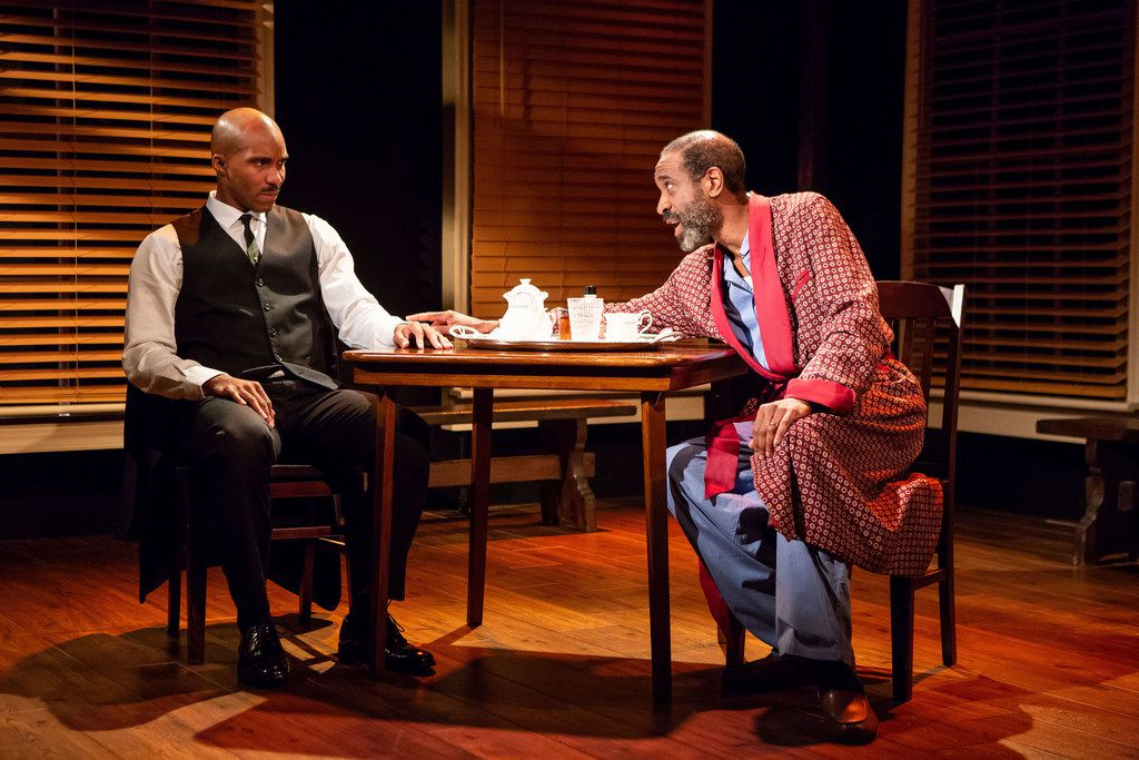 Bjorn DuPaty (left) and Brian D. Coats in Travisville, loosely based on Jim Schutze's The Accommodation:The Politics of Race in an American City.