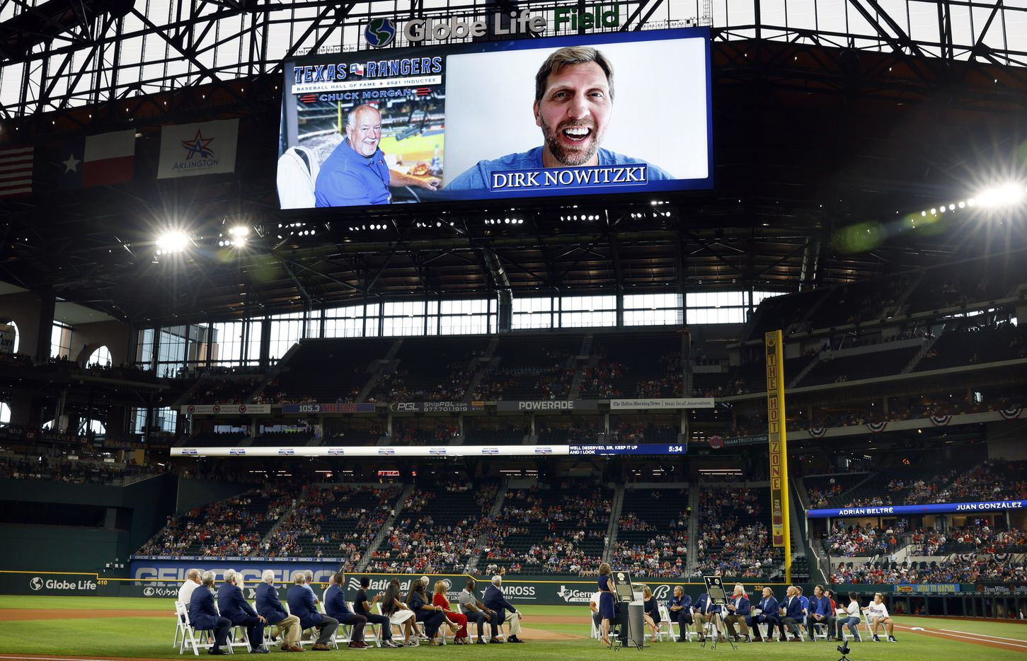 Former Dallas Mavericks star Dirk Nowitzki  delivered a video tribute to Texas Rangers executive vice president and public address announcer Chuck Morgan during the Texas Rangers Baseball Hall of Fame induction ceremony at Globe Life Field in Arlington, Saturday, August 14, 2021.(Tom Fox/The Dallas Morning News)