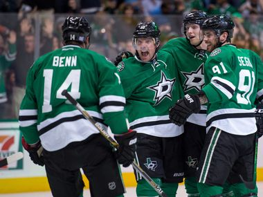 Dallas Stars wing Patrick Sharp (10), defenseman John Klingberg (3), center Tyler Seguin (91) and wing Jamie Benn (14) celebrate during a game against the Anaheim Ducks at the American Airlines Center on Oct 27, 2015 in Dallas. (Jerome Miron/USA TODAY Sports)