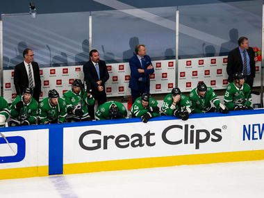 The Dallas Stars react to their loss against the Tampa Bay Lightning during Game 6 of the Stanley Cup Final at Rogers Place in Edmonton, Alberta, on Monday, Sept. 28, 2020.
