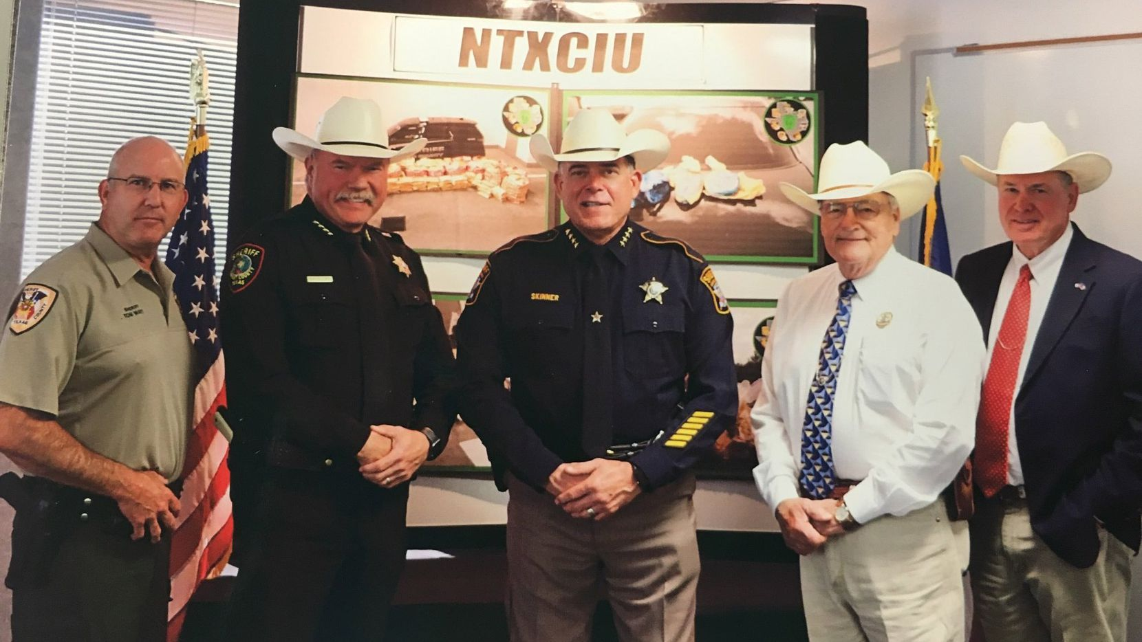 Sheriffs from seven counties have formed the North Texas Sheriff's Criminal Interdiction Unit. From left are Grayson County Sheriff Tom Watt, Tarrant County Sheriff Bill Waybourn, Collin County Sheriff Jim Skinner, Parker County Sheriff Larry Fowler and Wise County Sheriff Lane Akin. Hunt County Sheriff Randy Meeks and Rockwall County Sheriff Harold Eavenson were unable to attend Wednesday's announcement.