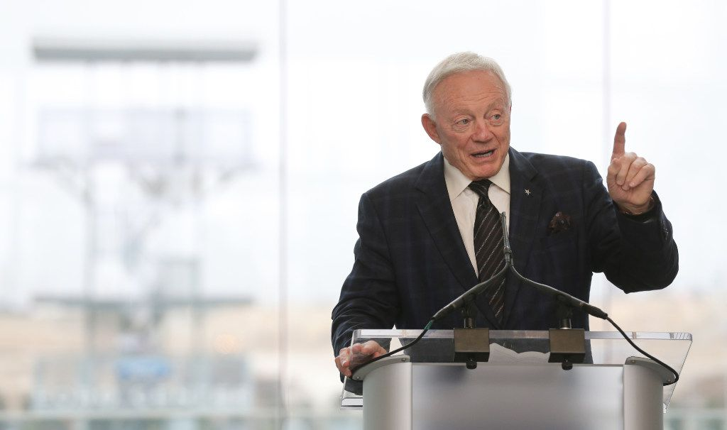 Dallas Cowboys owner Jerry Jones talks with the crowd as he hosts a news conference and reception to announce new tenants for the Star in Frisco,Texas on Thursday, December 15, 2016. (Louis DeLuca/The Dallas Morning News)