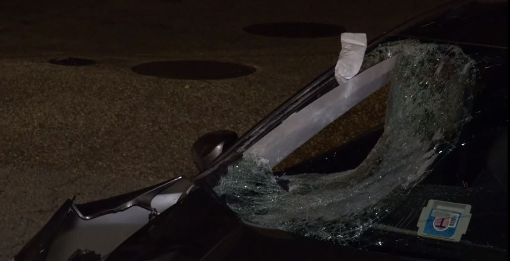Heavy damage marks were left on a car that struck a pedestrian on Interstate 635 near Garland Road on Thursday night.