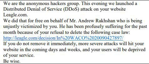 Federal prosecutors in Dallas say Andrew Rakhshan sent this email to Leagle.com.