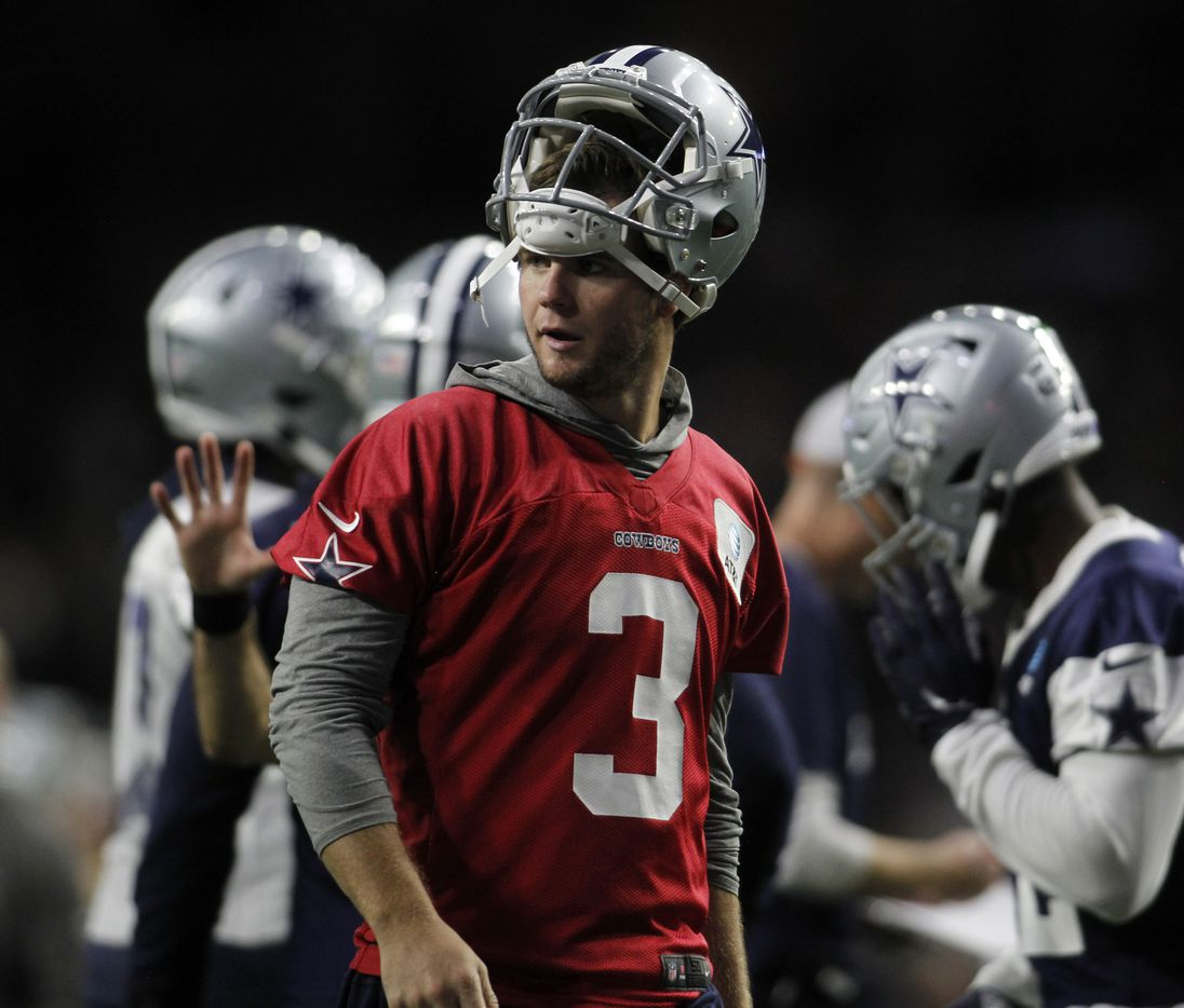 Dallas Cowboys backup quarterback Garrett Gilbert (3) leaves the field after taking reps during a team practice session. The Cowboys conducted their final public football practice session of training camp inside The Star at the Ford Center in Frisco on August 28, 2021. (Steve Hamm/ Special Contributor)