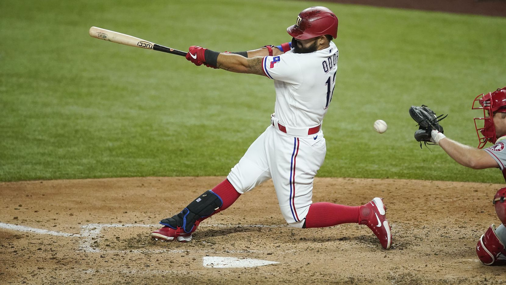 Texas Rangers second baseman Rougned Odor strikes out swinging to end the sixth inning against the Los Angeles Angels at Globe Life Field on Saturday, Aug. 8, 2020.