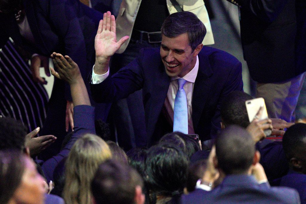 Former El Paso congressman Beto O'Rourke greets supporters on Sept. 12, after a Democratic presidential primary debate hosted by ABC at Texas Southern University in Houston.