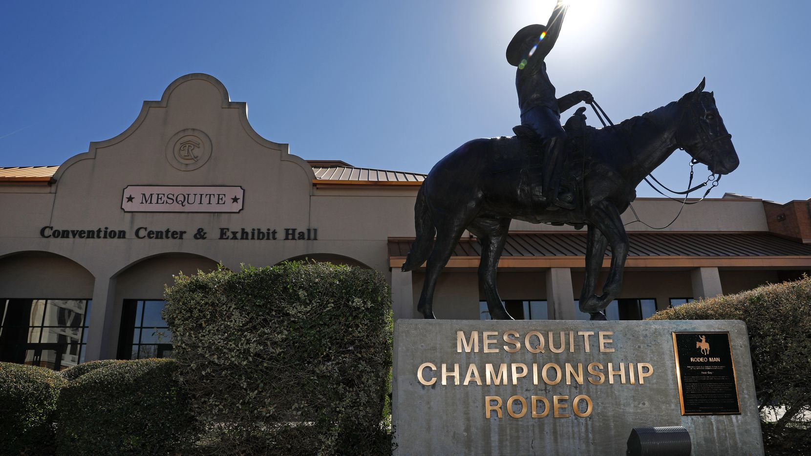 Developer Mehrdad Moayedi, who redid downtown Dallas' historic Statler Hotel, has purchased the landmark Mesquite Rodeo with plans to restore the building and make it part of a mixed-use project. A statue of famed Texas cowboy and rancher Neal Gay sits before the Mesquite Convention Center and Exhibit Hall.