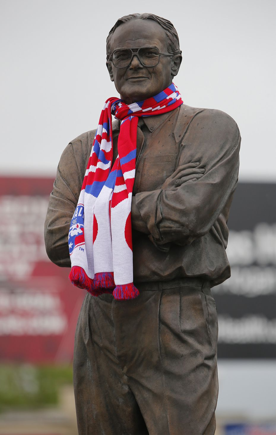 The statue of Lamar Hunt wears an FC Dallas scarf before every home game and as FC Dallas hosted Sporting KC at Toyota Stadium in Frisco on Sunday, April 17, 2016. (Stewart F. House/Special Contributor)