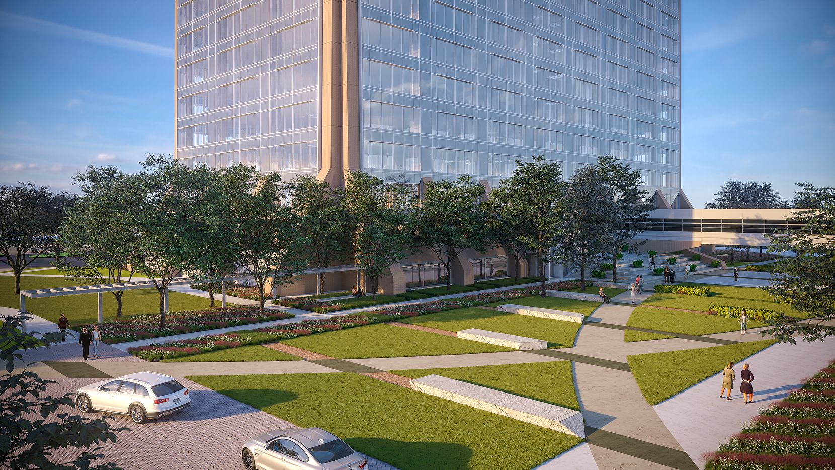 The 23-acre campus surrounding the high-rise will be redone with outside areas for tenants.