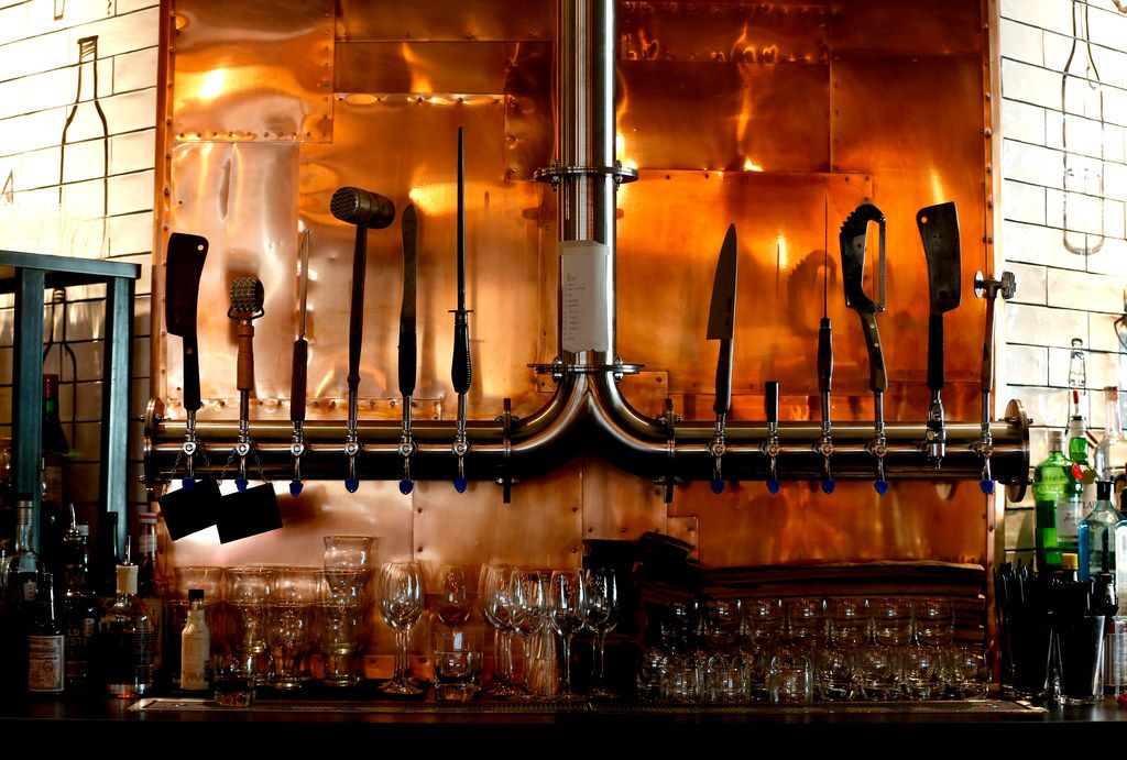 The beer taps at Haywire in Plano, Texas on Thursday, Nov. 30, 2017. (Rose Baca/The Dallas Morning News)