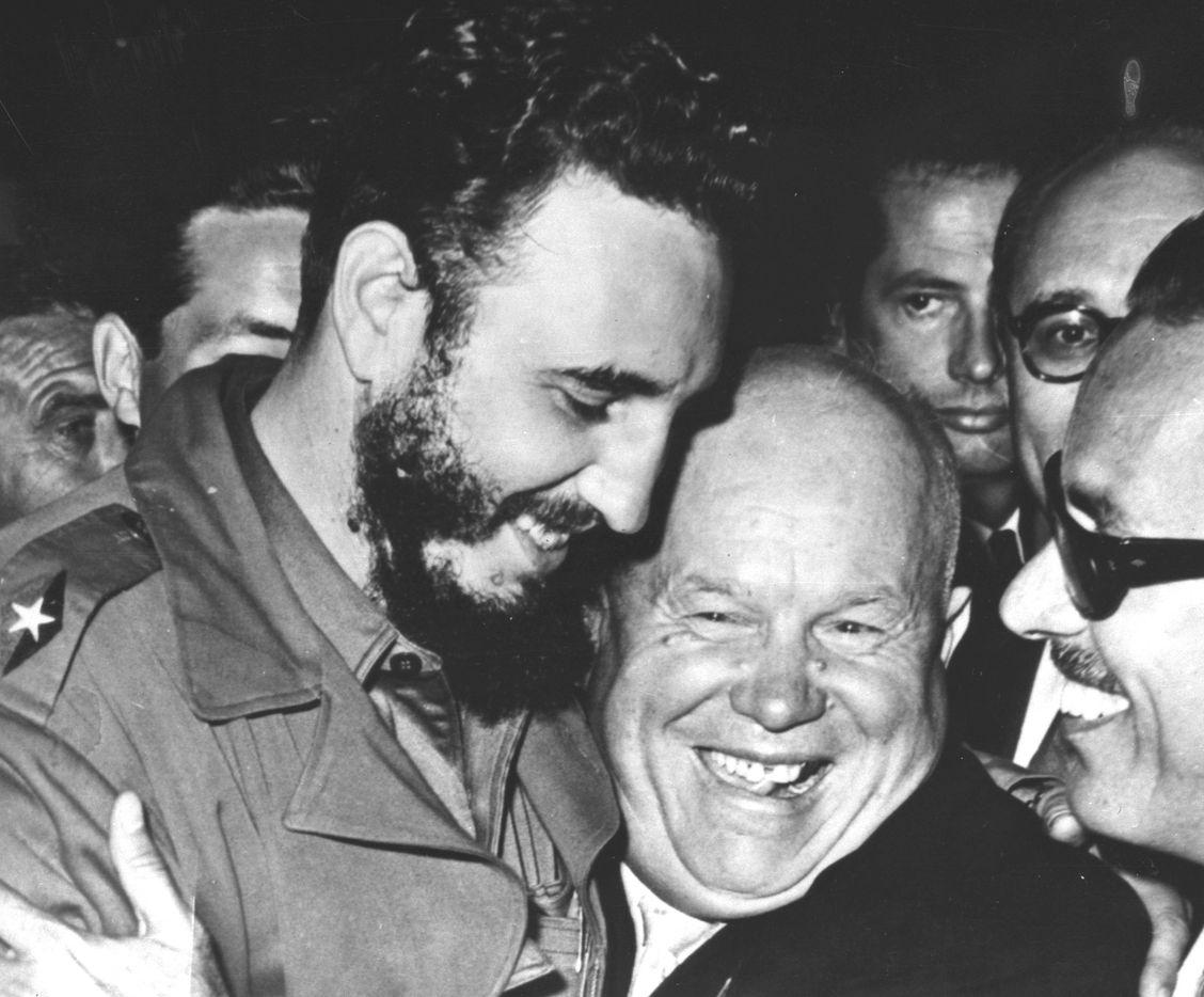 Cuban Prime Minister Fidel Castro, left, is embraced by Soviet Premier Nikita Khrushchev in the United Nations General Assembly Sept. 20, 1960.