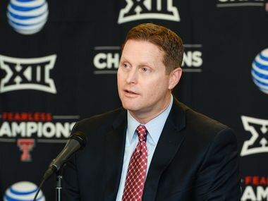 LUBBOCK, TX - JANUARY 16: Texas Tech Athletic Director Kirby Hocutt answers questions from the media after being named the chairman of the College Football Playoff Selection Committee on January 16, 2016 at United Supermarkets Arena in Lubbock, Texas.