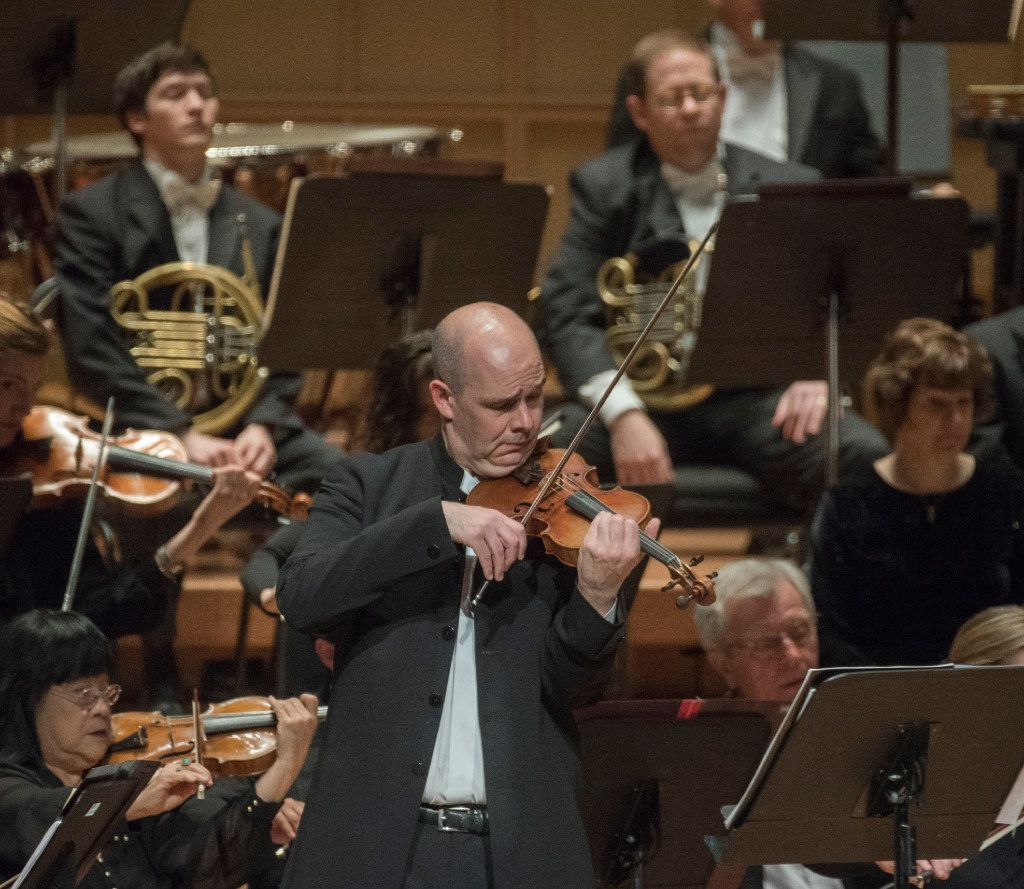 """Violinist Alexander Kerr performs Sergei Prokofiev's """"Concerto No.1 in D major for Violin and Orchestra, Op. 19"""" with the Dallas Symphony Orchestra on Thursday, March 16, 2017.   (Rex C. Curry/Special Contributor)"""